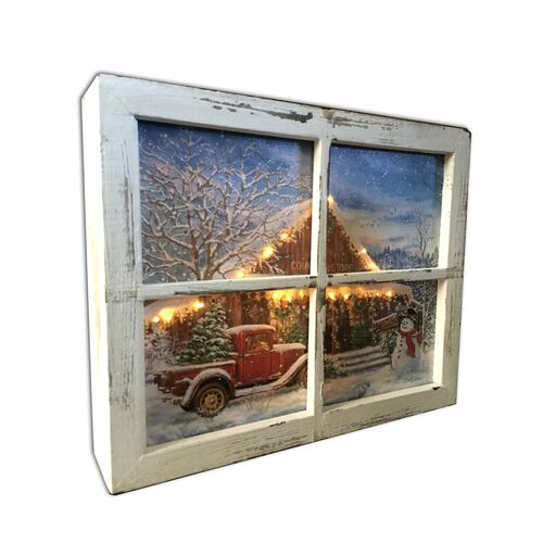 """10"""" White and Blue Lighted Country Store Christmas Rectangular Shadow Box Decoration - IMAGE 1"""