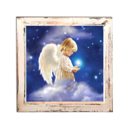 """8"""" White and Blue LED Lighted Angel Star Christmas Square Shadow Box Decoration - IMAGE 1"""