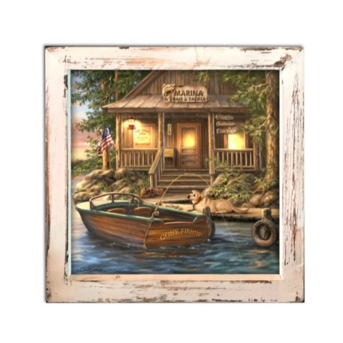"""8"""" Brown and Cream White LED Lighted """"The Marina"""" Square Shadow Box Decoration - IMAGE 1"""