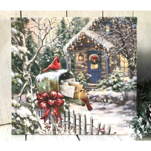 """10"""" x 10"""" White and Brown Cardinal Cottage Embellished Pizazz Wall Art - IMAGE 1"""