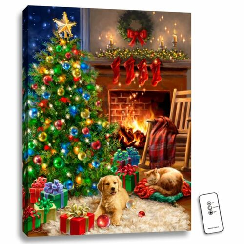 "24"" x 18"" Green and Brown Cozy Christmas Back-Lit Wall Art with Remote Control - IMAGE 1"