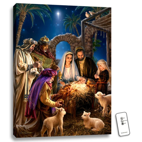 """24"""" x 18"""" Blue and Brown Jesus In The Manger Back-Lit Wall Art with Remote Control - IMAGE 1"""