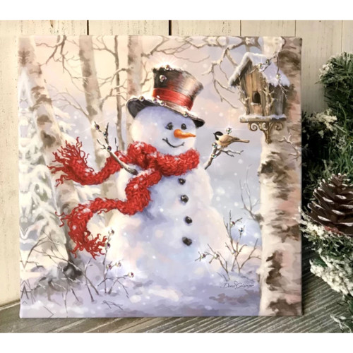 """10"""" x 10"""" White and Red Birch Forest Snowman Embellished Pizazz Wall Art - IMAGE 1"""