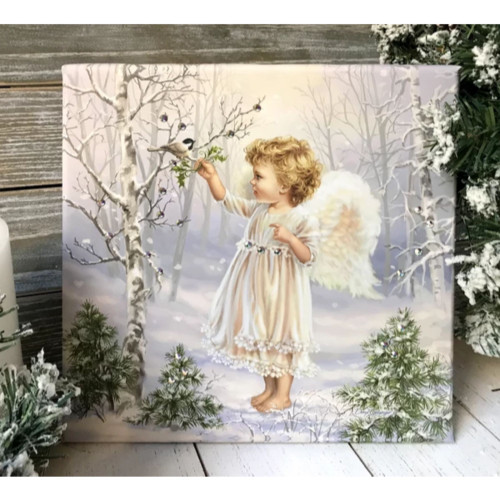 """10"""" x 10"""" White and Green Little Winter Blessings Embellished Pizazz Wall Art - IMAGE 1"""