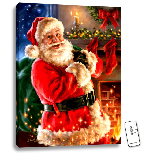 "24"" x 18"" Red and Green Santa Claus Back-lit Wall Art with Remote Control - IMAGE 1"
