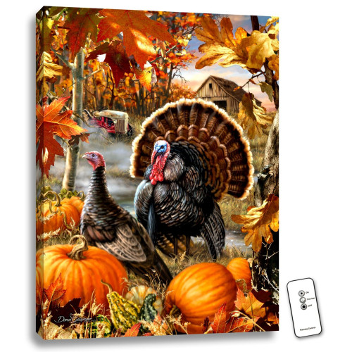 "24"" x 18"" Orange and Brown Gobbler Farms Backlit LED Wall Art with Remote Control - IMAGE 1"