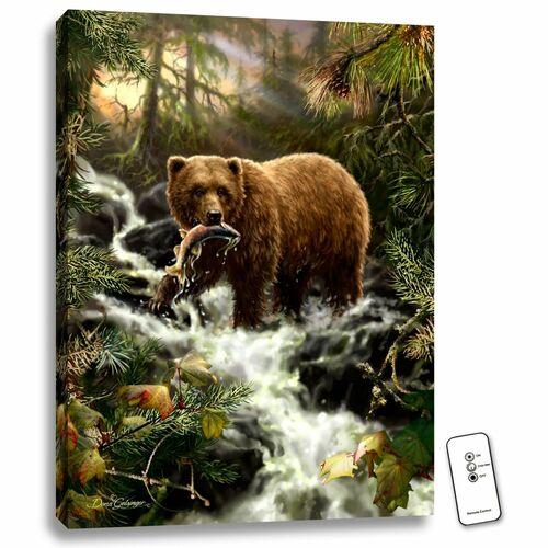 """24"""" x 18"""" Brown and Green Grizzly Gorge Backlit LED Wall Art with Remote Control - IMAGE 1"""