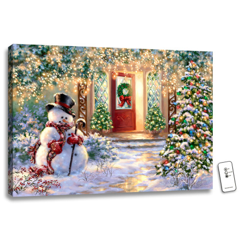 """18"""" x 24"""" White and Green Christmas Snowman Home Back-lit Wall Art with Remote Control - IMAGE 1"""