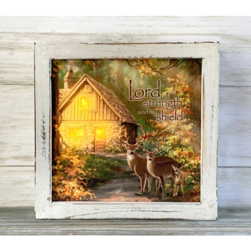 """8"""" Yellow and Brown LED Lighted Bible Verse Printed Square Shadow Box Decoration - IMAGE 1"""