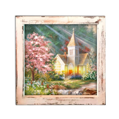 """8"""" Yellow and White LED Lighted Spring Chapel Square Shadow Box Decoration - IMAGE 1"""