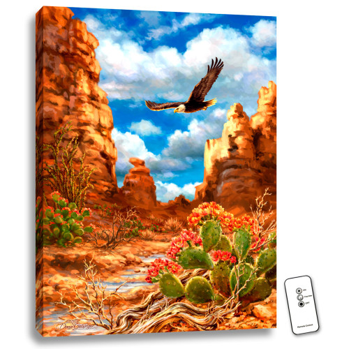 "24"" x 18"" Orange and Blue Red Rock Eagle Back-lit Wall Art with Remote Control - IMAGE 1"