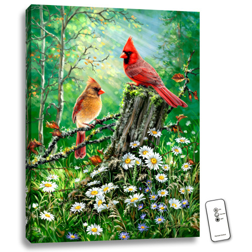 """24"""" x 18"""" Green and Red Cardinal Birds Back-lit Wall Art with Remote Control - IMAGE 1"""