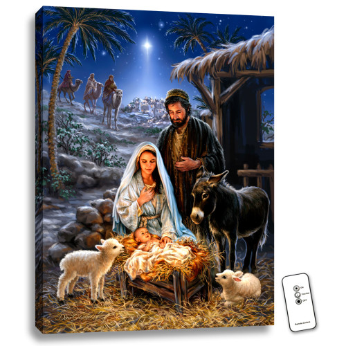 """24"""" x 18"""" Blue and Black Savior's Birth Back-lit Wall Art with Remote Control - IMAGE 1"""
