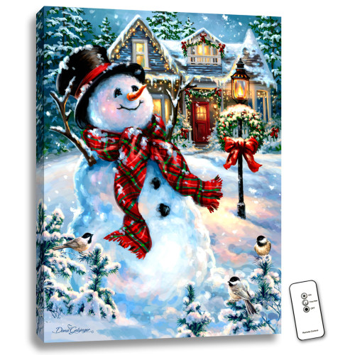 """24"""" x 18"""" White and Red Christmas Snowman Back-lit Wall Art with Remote Control - IMAGE 1"""