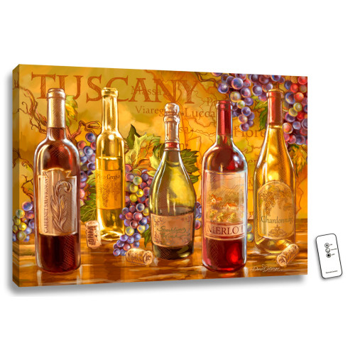 "18"" x 24"" Orange and Red Tuscan Bottles Back-lit Wall Art with Remote Control - IMAGE 1"