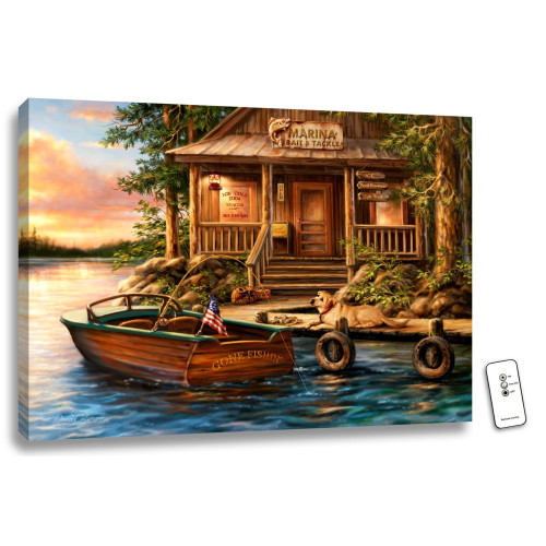 """18"""" x 24"""" Brown and Blue The Marina Backlit LED Wall Art with Remote Control - IMAGE 1"""