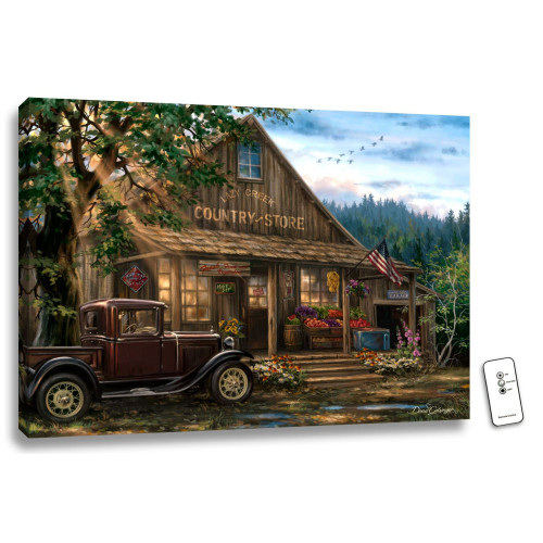 """18"""" x 24"""" Brown and Green Country Store Backlit LED Wall Art with Remote Control - IMAGE 1"""