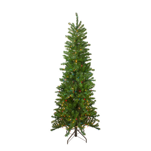 7.5' Pre-Lit Pencil Canadian Pine Artificial Christmas Tree - Multicolor Lights - IMAGE 1