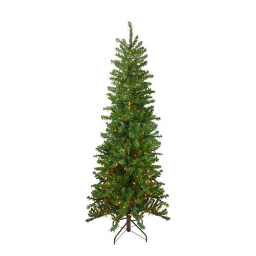 6.5' Pre-Lit Canadian Pine Artificial Pencil Christmas Tree - Multi Lights - IMAGE 1
