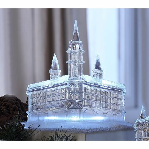 """Set of 2 Clear Steeple Churches Perspective LED Lighted Tabletop Decor 8"""" - IMAGE 1"""