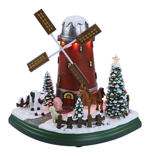 """Set of 2 Red and White Christmas Windmill Farm Tabletop Decor 9.25"""" - IMAGE 1"""