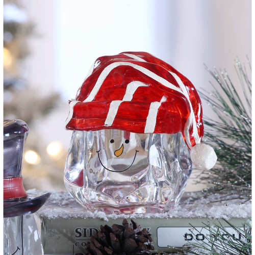 """Set of 2 Clear and Red Snow Man Knit Hat Candy Jar Christmas Tabletop Decor 5.25"""" - IMAGE 1"""