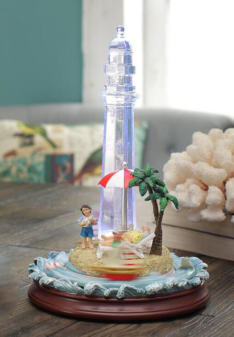 "Set of 2 Clear and Light Blue Umbrella Island Lighthouse Tabletop Decor 11"" - IMAGE 1"