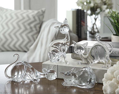 """Set of 8 Clear Contemporary Cartoon Cats Tabletop Decor 4"""" - IMAGE 1"""