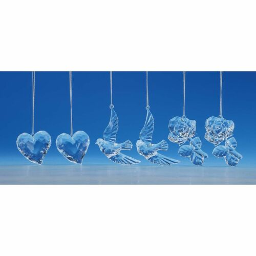 "Club Pack of 12 Clear Heart, Rose and Dove Hanging Ornaments 1.25"" - IMAGE 1"
