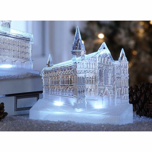"""Set of 2 Clear Cathedral Churches Perspective Led Lighted Tabletop Decor 9.25"""" - IMAGE 1"""