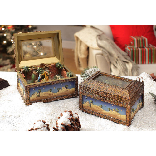 Set of 2 Brown and Yellow Nativity Music Box Tabletop Decor - IMAGE 1