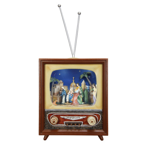 """Set of 2 Brown and Beige Christmas Nativity TV 14.75"""" - IMAGE 1"""