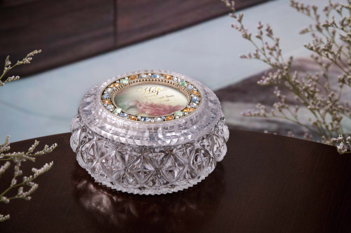"""Set of 2 Clear and Gold Contemporary Diamond Cut Round Box 4.5"""" - IMAGE 1"""