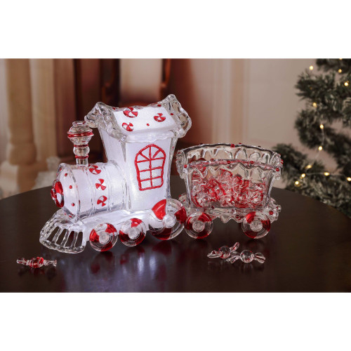 """14"""" LED Lighted Glass Candy Christmas Train - IMAGE 1"""