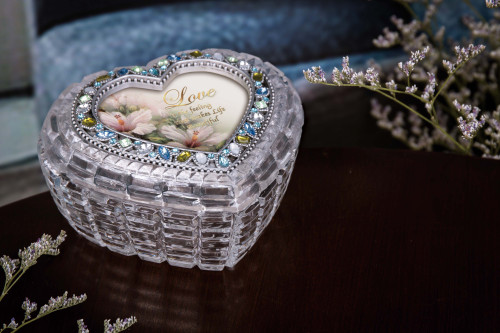 "Set of 2 Clear Contemporary Diamond Cut Heart Shaped Box 4.75"" - IMAGE 1"