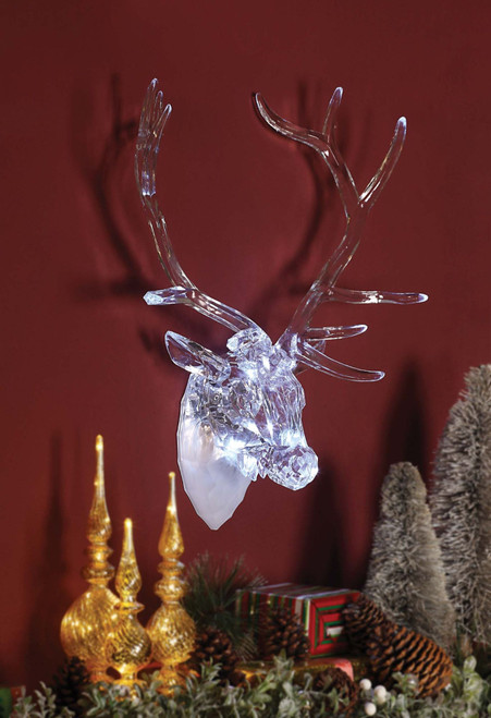 "23.25"" Clear Contemporary LED Buck Head Decor - IMAGE 1"
