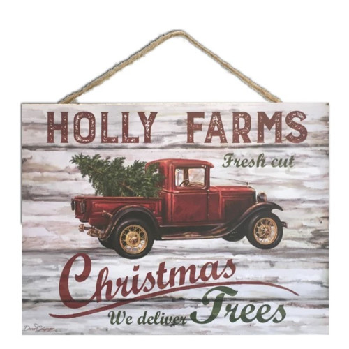 """Cream White and Red Holly Farms Rectangular Sign with Rope Hanger 7"""" x 10"""" - IMAGE 1"""