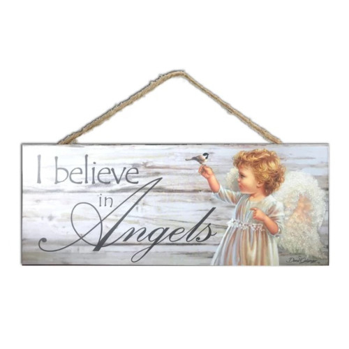 """White and Gray Angel Printed Rectangular Wall Sign with Rope Hanger 4"""" x 10"""" - IMAGE 1"""
