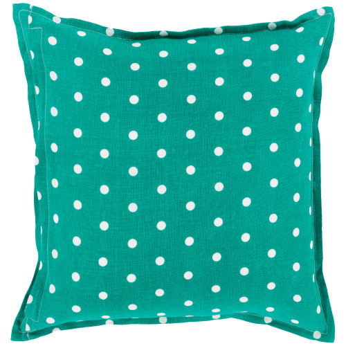 "22"" Emerald Green and White Polka Dotted Square Throw Pillow Cover - IMAGE 1"