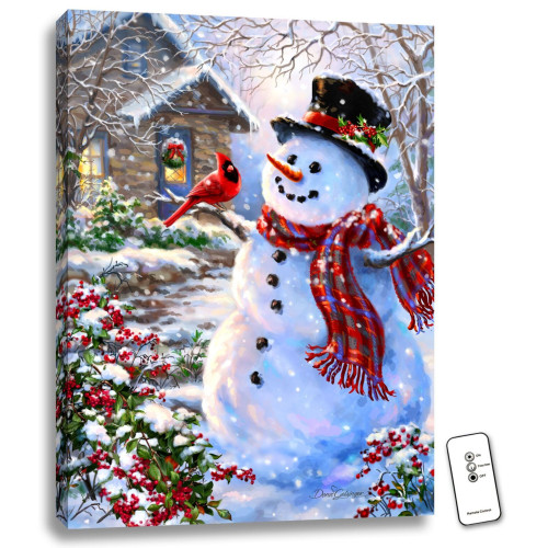 """24"""" x 18"""" White and Red Snowman and Feathered Friend Backlit LED Wall Art with Remote Control - IMAGE 1"""