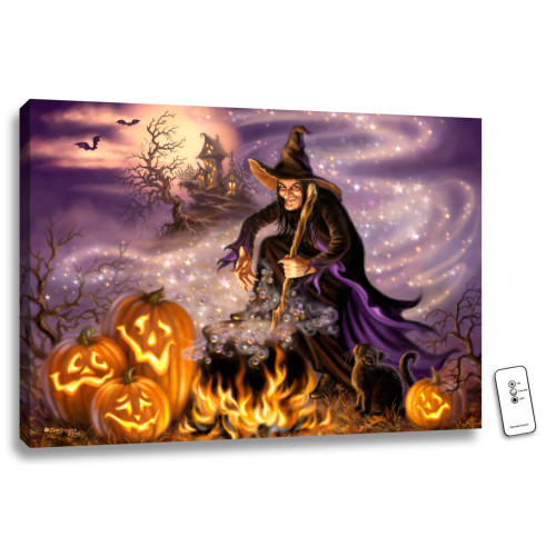 "18"" x 24"" Purple and Orange All Hallow's Eve Back-lit Halloween Wall Art with Remote Control - IMAGE 1"