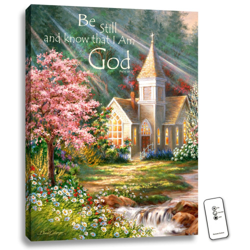 """Green and Cream White Chapel LED Backlit Rectangular Wall Art with Remote Control 24"""" x 18"""" - IMAGE 1"""