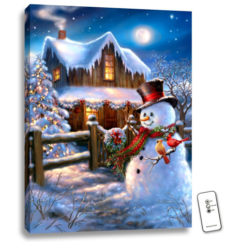 """Blue and White Woodhouse Christmas LED Backlit Rectangular Wall Art with Remote Control 24"""" x 18"""" - IMAGE 1"""