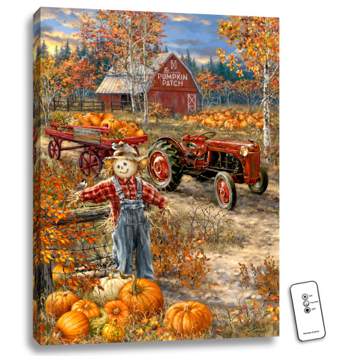 "24"" x 18"" Orange and Red Pumpkin Patch Back-lit Halloween Wall Art with Remote Control - IMAGE 1"