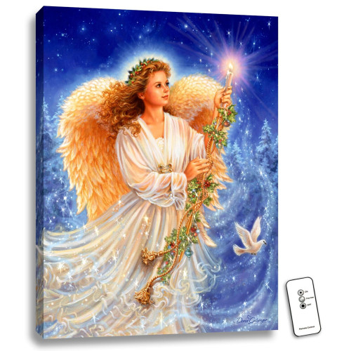 """Blue and Cream White Stardust Angel LED Backlit Rectangular Wall Art with Remote Control 24"""" x 18"""" - IMAGE 1"""