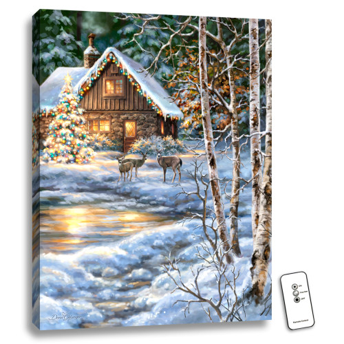 "24"" x 18"" White and Brown Christmas at the Cabin Back-lit Wall Art with Remote Control - IMAGE 1"