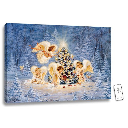 "18"" x 24"" Blue and Ivory Silent Night Gentle Light Backlit Wall Art with remote control - IMAGE 1"