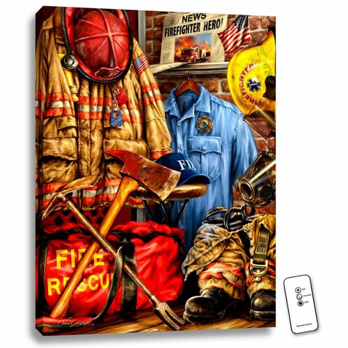 """24"""" x 18"""" Red and Blue Hometown Hero Firefighter Backlit LED Wall Art with Remote Control - IMAGE 1"""