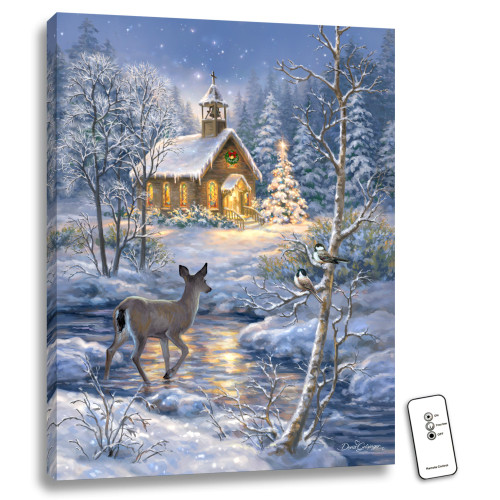 """24"""" x 18"""" Blue and White Chapel in the Snow Back-lit Wall Art with Remote Control - IMAGE 1"""