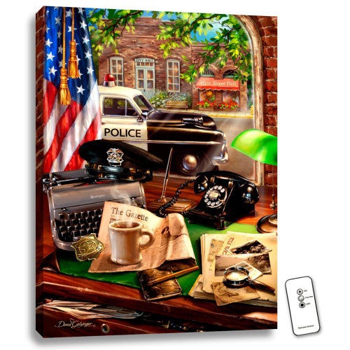 """24"""" x 18"""" Brown and Blue Hometown Hero Police Backlit LED Wall Art with Remote Control - IMAGE 1"""